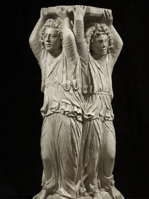 A pair of telamon angels,  1460-75 ca.